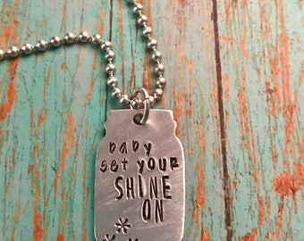 Hand stamped mason jar necklace