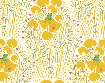 FQ - Far Far Away by Heather Ross - Frog Prince in Yellow - Quilting Cotton Fabric