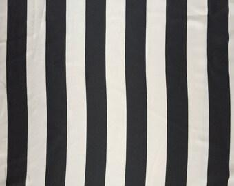 Black & White Stripe Satin Fabric by the Yard Black White Horizontal 1inch Wide Stripe Print Satin summer Fabric Apparel Fabric
