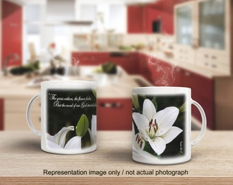 15 oz. Inspirational Coffee Mug / The Grass Withers . . . But the Word of God /  (G811-1)