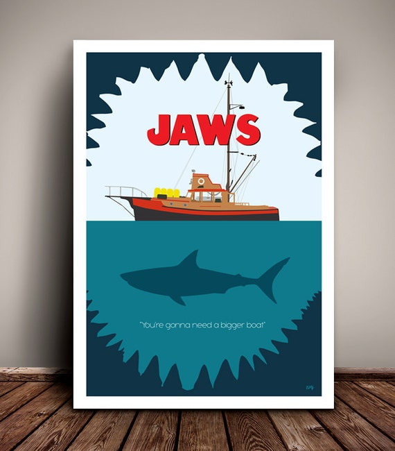 Jaws // Steven Spielberg // Minimalist Movie Poster // Unique A4 / A3 Art Print