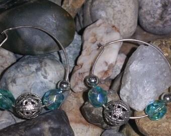 Sterling Silver and Aqua Swarovski Crystal Bead Hoop  Earrings