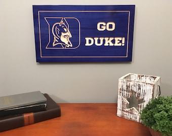 Duke Sign-Duke University-Blue Devils-Duke Carved Sign-Wooden Sign-Stained