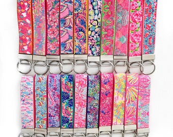 Lilly Pulitzer Key Fob (29 Different Prints), First Impression, Exotic Garden, Lilly Pulitzer Wristlet, Lets Cha Cha, Shellabrate, key fob