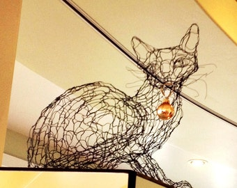 Wire Sculpture Cat: Life Size 3D Kitty by Elizabeth Berrien, internationally acclaimed wire sculptor