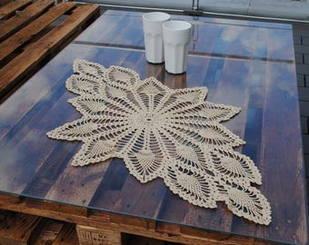 crochet doily  , lace tablecloth , 90-50 cm