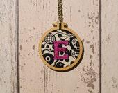 E initial mini-hoop cross-stitch necklace - folk fabric
