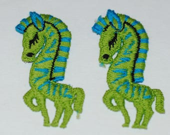 Vintage Zebra Patches, Pair of 1970's Blue and Green Zebra Patches, Embroidered Sew On Patches, Vintage