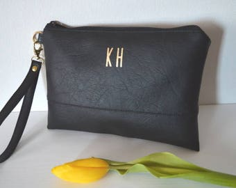 Black Wristlet with Gold Initials