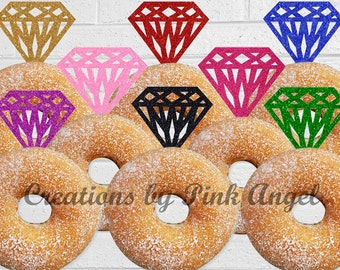 Set of 12 Glitter Diamond Donut Toppers, Doughnut Toppers, Glitter Diamond Toppers, Bridal Shower or Engagement Party Toppers, She said Yes