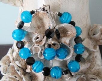 Bold blue bracelet set