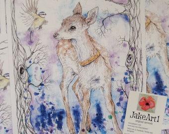 The Enchanted Stag fantasy art print, fantasy deer illustration print, fairy tale art, fairy story art, gift for her, art print, deer art