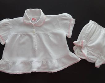 Vintage Cuvver-ups by Cutler White with Pink Trim Diaper Set Size Small