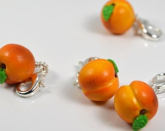 Realistic Peach Charm handmade from polymer clay