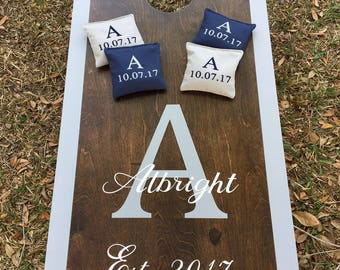 Custom Wedding Cornhole Boards Stained and painted. Package includes Decals and 8 embroidered bags. Hand made/ real birch tops, Top Quality.