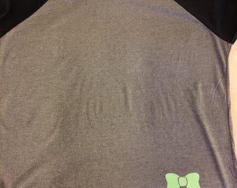 Monogram Ragland T-shirt- vine circle monogram with cute bow