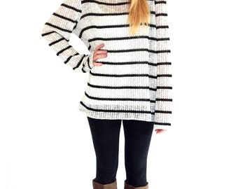 Stripped knitted long sleeve cardigan