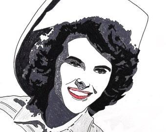 Wanda Jackson hand-drawn drawing / painting