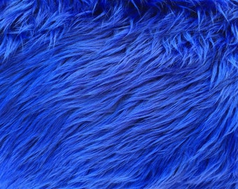 """Luxury Long Pile Faux Shaggy Fur Fabric - Sold By The Yard - 60"""", Color royal Blue"""