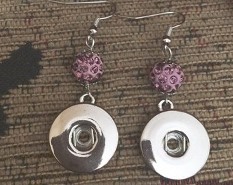 Crystal pink silver snap button dangly earrings
