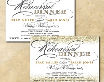 Gold Rehearsal Dinner Invitation printable/gray, digital, calligraphy, glitter, wedding, night before/Digital File/wording can be changed