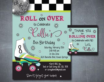 Adorable Skating Party Invitation and Matching Favor Tag/DIGITAL FILE/printable/wording can be changed