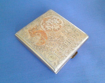 Vintage aluminium cigarette case / Holder from USSR / 50 years Russian Revolution of 1917 / Made in USSR, 1960s