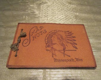 Leather Snap Shot Photo Album Vintage 1950's Hand Tooled Indian Chief Minneapolis MN Mini Scrapbook Collectible - Col0292