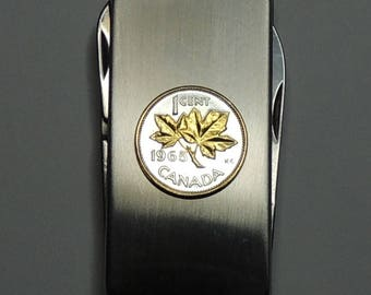 """Canadian """"Maple leaf"""" - Gorgeous 2-Toned (Hand done) Gold on Silver Coin - Combination Knife and scissor Money clip"""