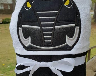 Black Power Ranger  Inspired Hooded Towel with FREE EMBROIDERED NAME