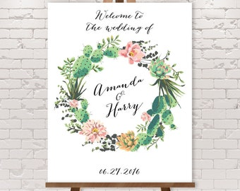 Cactus Wedding Welcome Sign / Cactus Welcome / Pink Flowers and Cactus Succulent / Mexican Fiesta ▷ Printable File {or} Printed & Shipped