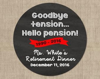 Retirement Stickers -  Colorful Bubbles Design and Goodbye Tension Hello Pension Sticker Combo