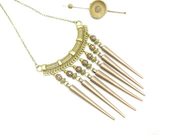 Copper Spike • metal copper bib necklace
