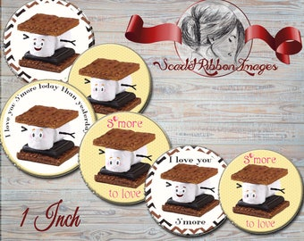 S'MORES 1 inch round Bottle cap size - circles 600dpi Collage Sheet, glass pendants, Label, Cupcake topper, Tag