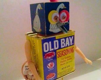 Chicken Little-Found Object Assemblage Art Robot