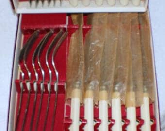 Vintage A. H. Bisby Dessert Knife and Fork Set 12 Place Settings Original Boxes