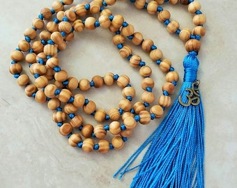 Serenity Blue Tassel Om Charm Hand Knotted Mala 108 Wooden Beads 38 Inches