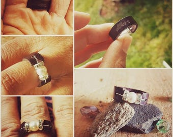 Leather Ring, personalized with name, date, or initials. *Handmade to order*
