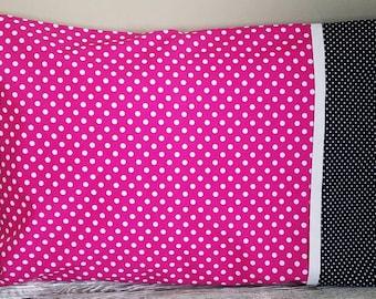 Pillowcase, Pink Pillowcase, Polka Dot Pillowcase, Pink Bedding, Bedding, Polka Dot Bedding, Girls Bedding, Kids Bedding, Pink Bedroom, Bed