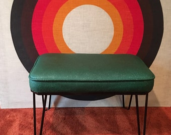 Vintage Ottoman with Hairpin Legs, Original Green and Gold Speckled Vinyl, Black Metal Hairpin Legs, Mid Century Footstool, Retro Foot Rest