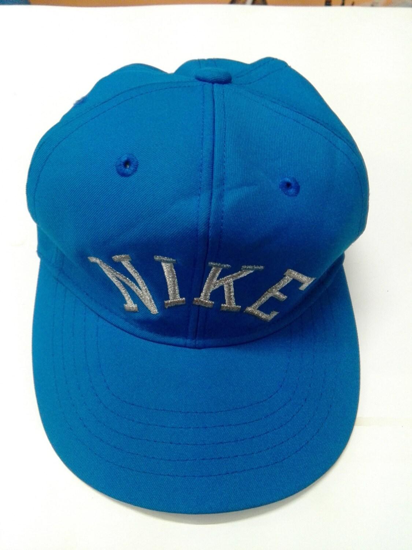 1b989ca2 Nike Hat Vintage Snapback Cap 80's Retro Spellout Block Letter Blue MINT