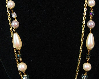 Tear Drop Pearl Necklace, Double Strand Pearl Necklace, Gold and Pearl Necklace, 2 Strand Pearl Necklace, Vintage Faux Pearl Necklace