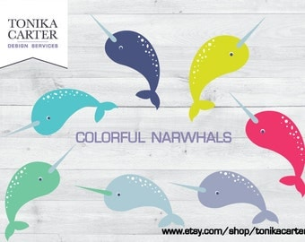 Colorful Narwhals Clipart