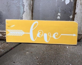 love arrow, rustic sign, rustic decor, tribal arrow, gallery wall, gallery piece, small sign, tribal love, wooden sign, love sign, wedding