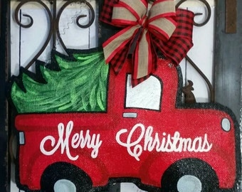 Christmas Tree Truck Burlap Door Hanger Decoration and Wreath Replacement