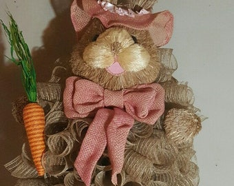 Easter Bunny Centerpiece made of deco mesh.