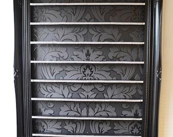 Nail polish rack black gloss with diamante ribbon and gems Large size