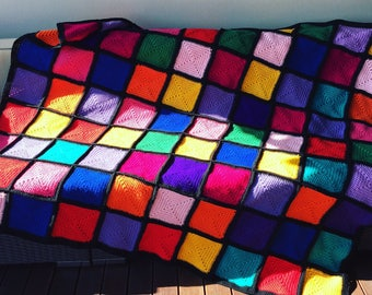Handmade Crochet Blanket Throw Afghan, lounge accessory bedding gift red blue yellow green, purple, orange, Rubix, patchwork, Etsy Australia