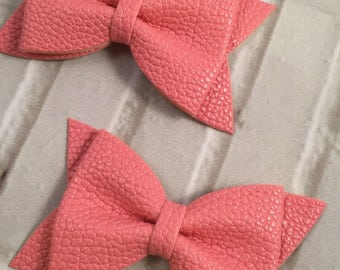 "Pink 3"" Mini Leather Hair Bow, Bow without Clips, DIY Hair Accessories, Leather Bow"