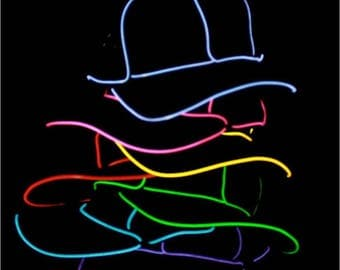 Light Up Hat - 2-Mode EL Wire Snapback Hat- Glow in the dark EL Hat, also available in trucker style! Perfect for everything! LED Party Hat